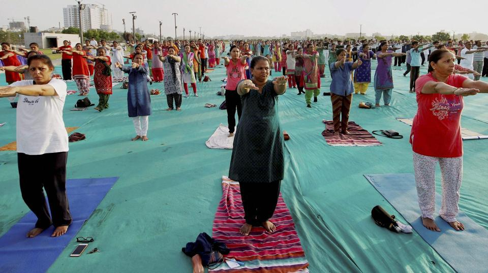 School teachers take part in a yoga practice camp in Ahmedabad, Gujarat on June 08, 2017. (PTI)