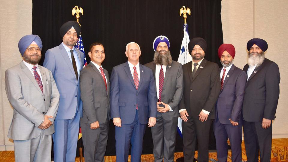 US Vice President Mike Pence with a Sikh delegation led by Gurinder Singh Khalsa that met  him in Indianapolis.