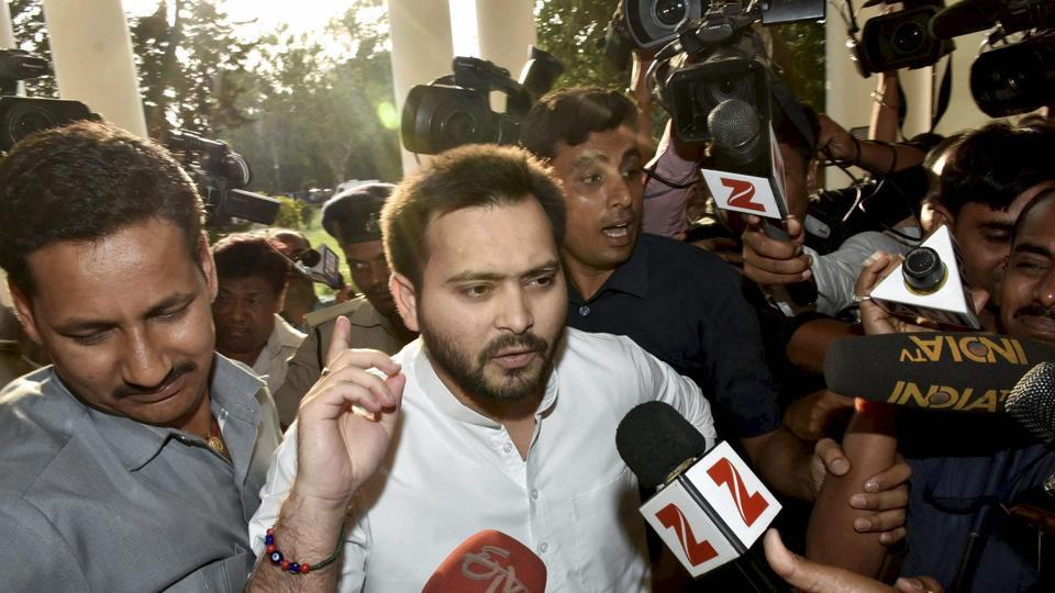 Bihar deputy chief minister Tejashwi Yadav speaks to media at old secretariat in Patna on Tuesday.