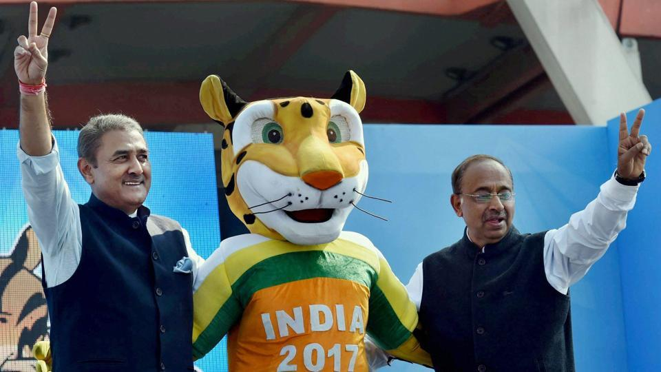 Union Sports Minister Vijay Goyal with All India Football Federation (AIFF) President Praful Patel during the launch of logo for U-17 FIFA world cup 2017.