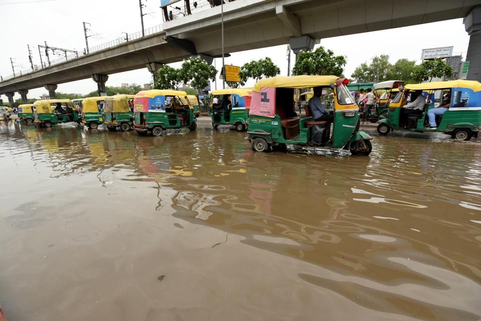 A waterlogged stretch near Noida City Centre Metro station on Tuesday.