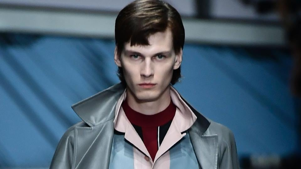 A lean model walking for Prada at the recently concluded  Milan Fashion Week.