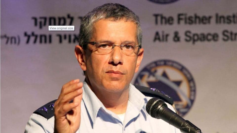 File photo of Israel air Force chief, Maj Gen Amir Eshel, who has said his country will use all its might in  any future war with Lebanese militant  group Hi