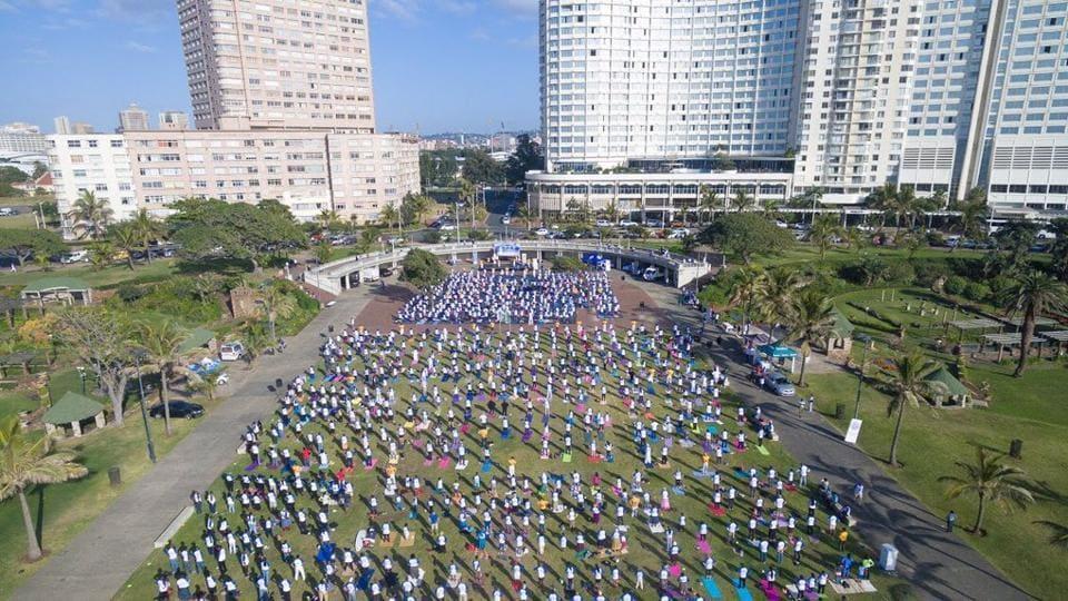 Yoga on the Durban beachfront at the city's landmark Amphitheater.
