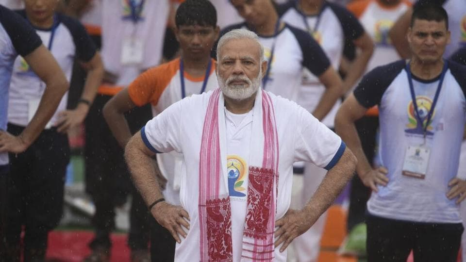 Prime Minister Narendra Modi takes part in the Yoga Day celebrations in Lucknow on Wednesday.