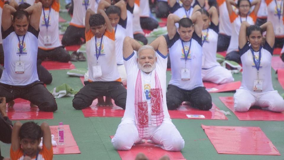Prime Minister Narendra Modi leads yoga celebrations in Lucknow.