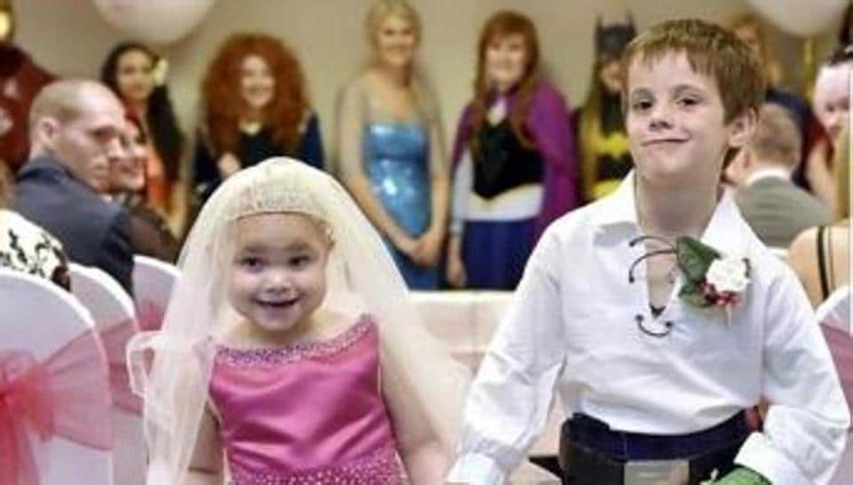 Five-year-old Eileidh Paterson, tied the knot with her best friend Harrison Grier, aged six.