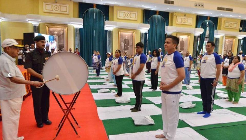 President Pranab Mukherjee takes part in the International Yoga Day celebrations at Rashtrapati Bhavan on Wednesday.