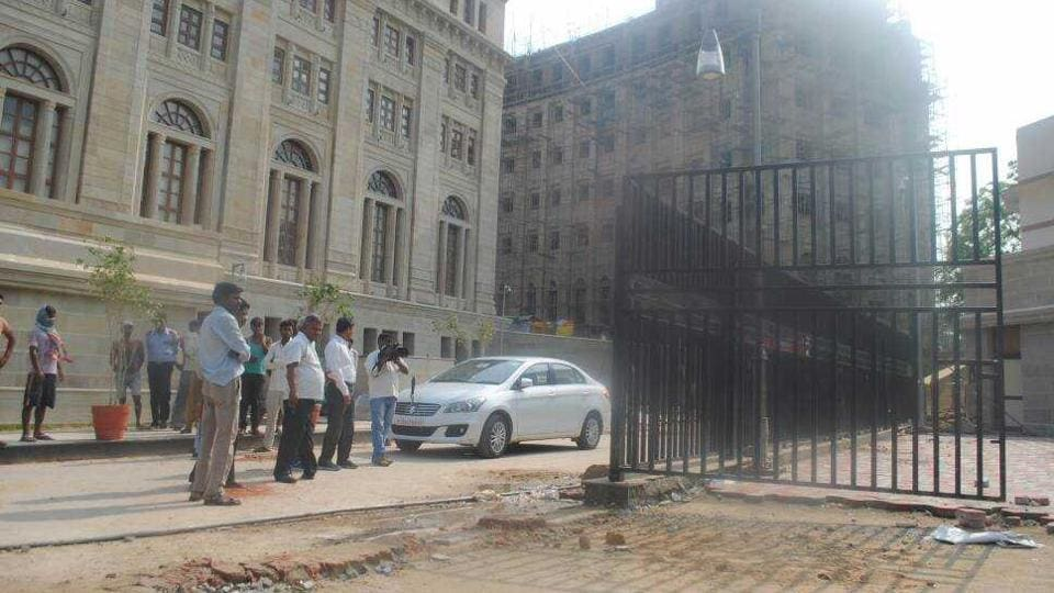 The spot at Lok Bhawan, the office of the Uttar Pradesh chief minister, where the gate fell.