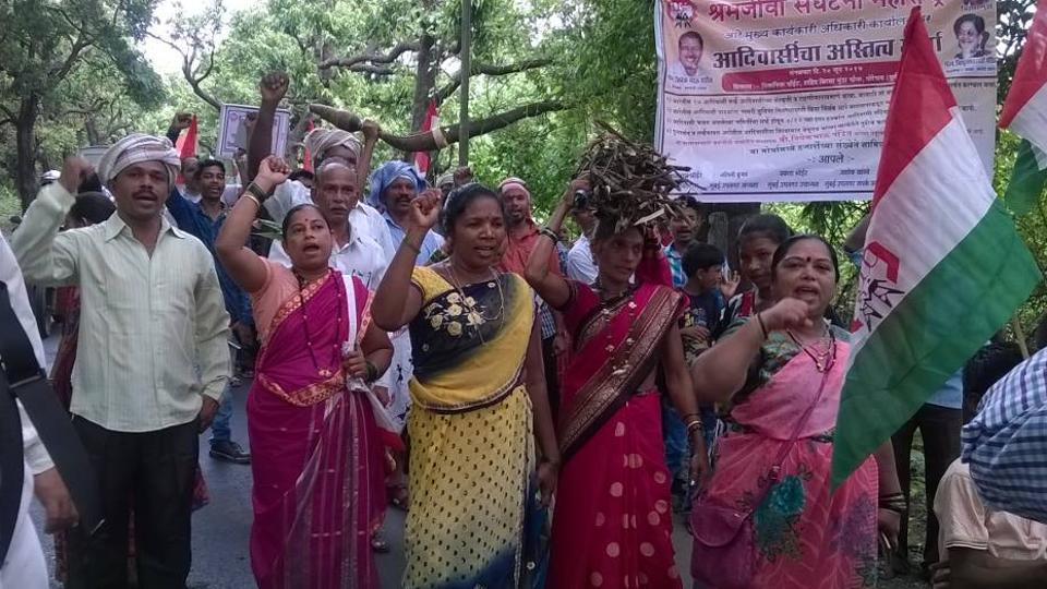 The tribals protest in Aarey Milk Colony on Tuesday.