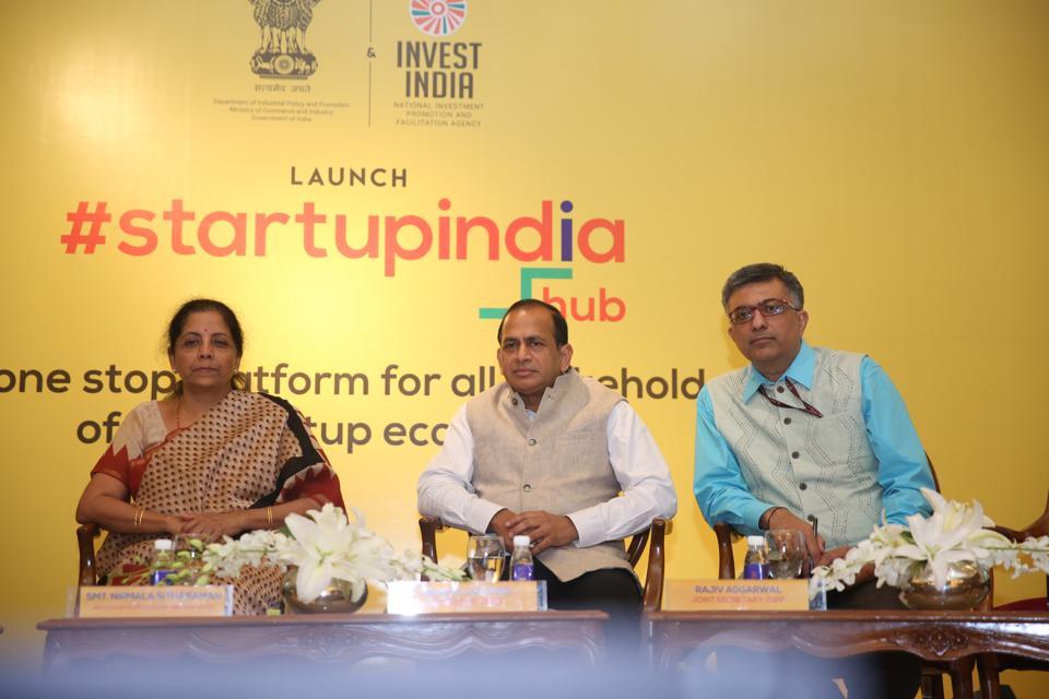 At the Startup India Hub Launch: Nirmala Sitharaman (Commerce and Industry Minister), Ramesh Abhishek (Secretary – DIPP), and Rajiv Aggarwal (Joint Secretary – DIPP) at New Delhi.