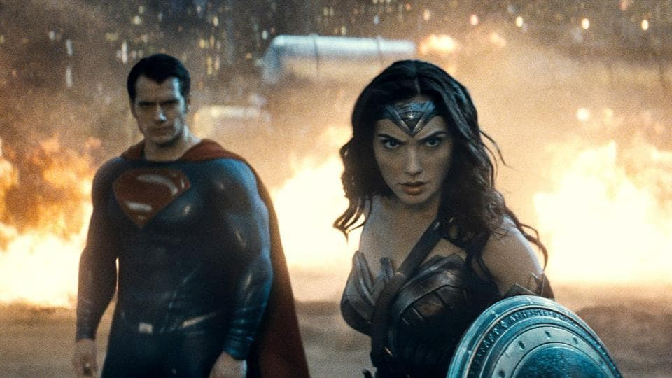 Superman Henry Cavill and Wonder Woman Gal Gadot in Batman v Superman.