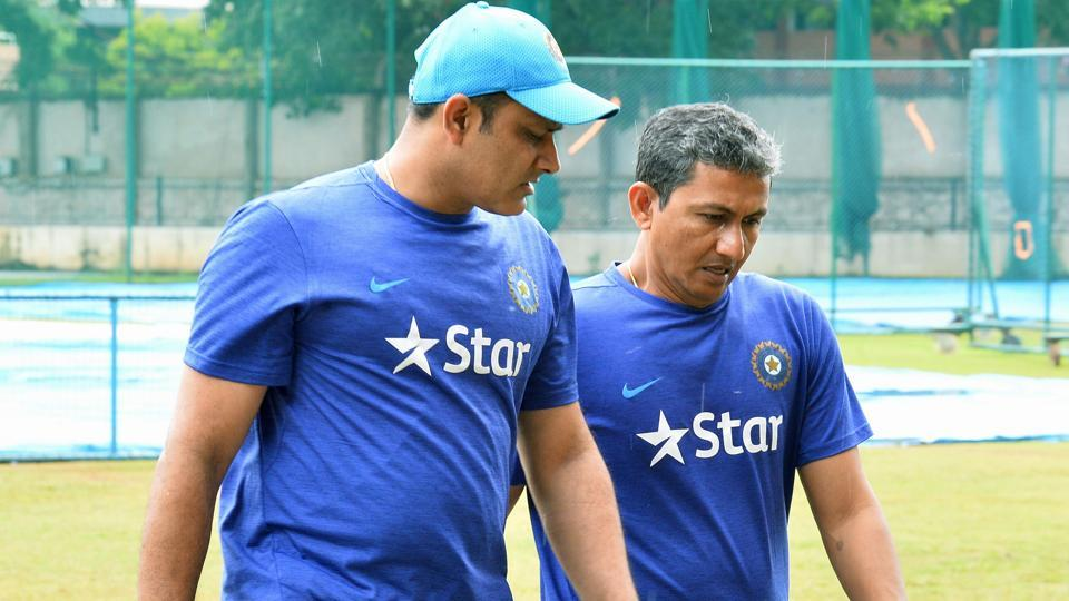 Anil Kumble (L) and Indian cricket team batting coach Sanjay Bangar return after inspecting the ground at the National Cricket Academy (NCA).