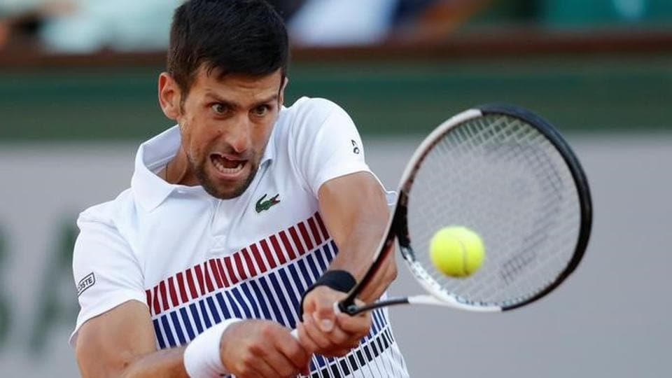 Serbia's Novak Djokovic in action during his French Open match against Spain's Albert Ramos-Vinolas.