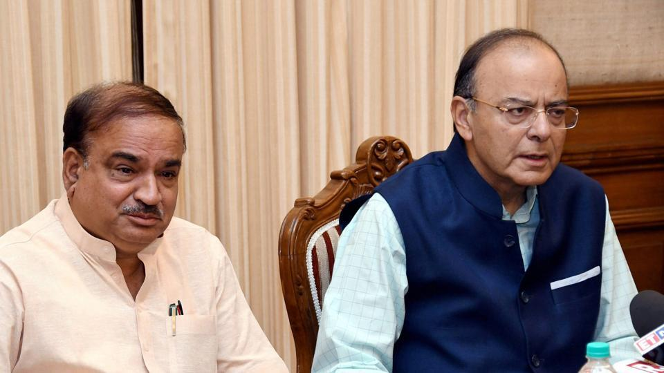 Finance minister Arun Jaitley with parliamentary affairs minister Ananth Kumar at a press conference on GST in New Delhi on Tuesday, June 20.