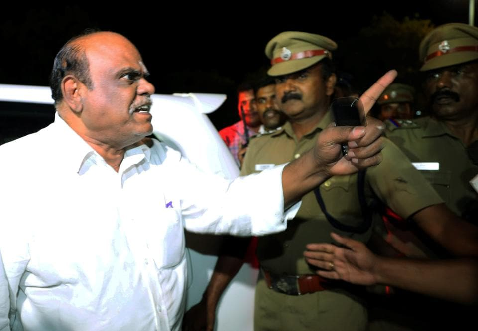 Former Calcutta high court judge CS Karnan, facing a contempt case, being arrested in Coimbatore on Tuesday.