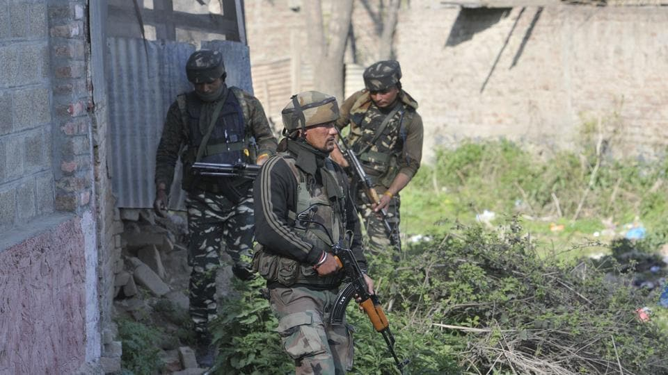 As the security forces were conducting the searches, they were fired upon by some hiding militants.