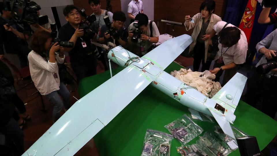 A small aircraft, which South Korea's Military says is a drone from North Korea, is seen at the Defense Ministry in Seoul, South Korea, June 21.
