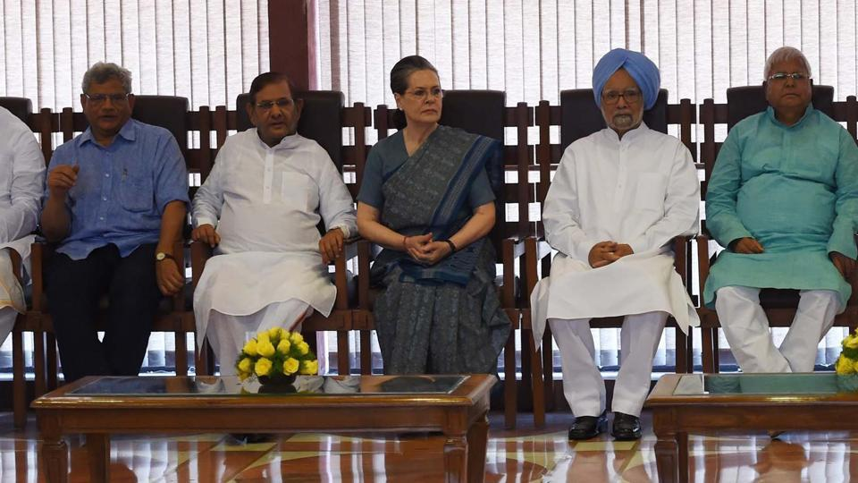 Congress President Sonia Gandhi chairing a meeting of the opposition leaders to discuss the strategy for the upcoming Presidential elections in New Delhi on Friday.