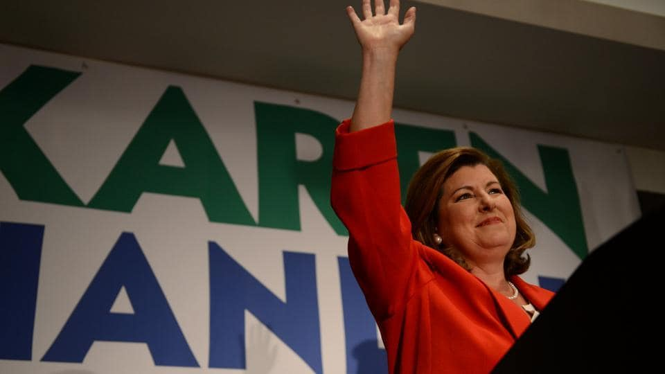 Karen Handel, Republican candidate for Georgia's 6th Congressional District, makes an appearance before supporters prior to giving her acceptance speech at her election night party at the Hyatt Regency at Villa Christina in Atlanta, Georgia, June 20, 2017.