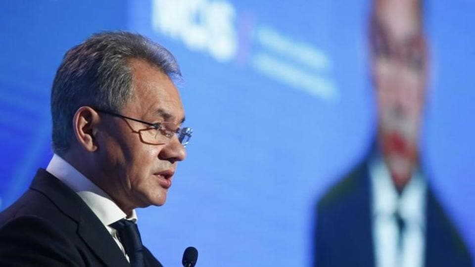 Russian Defence Minister Sergei Shoigu delivers a speech during the annual Moscow Conference on International Security (MCIS) in Moscow, Russia, April 26, 2017.