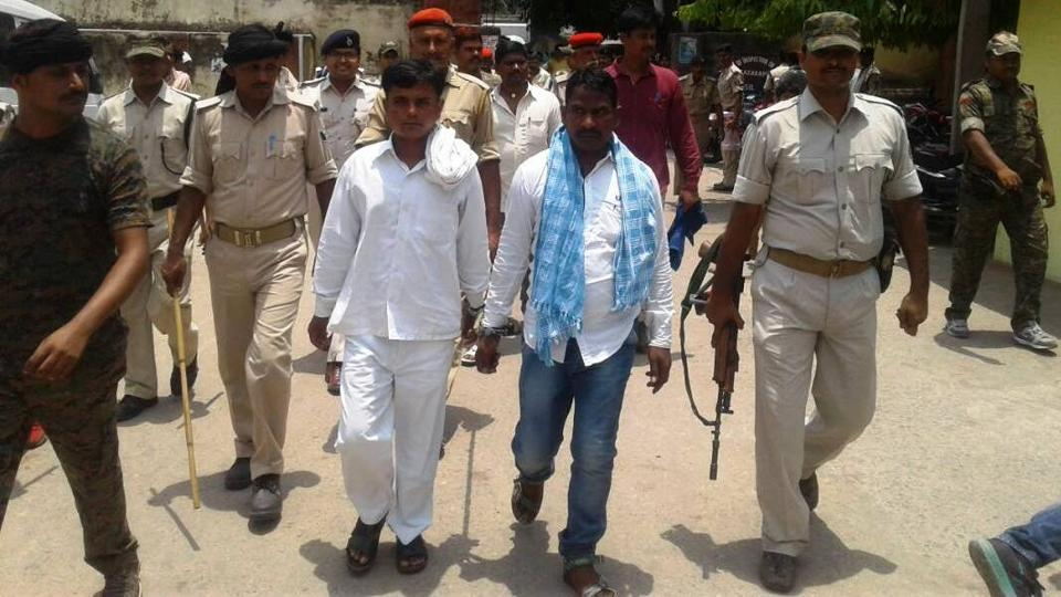 The convicts being taken to jail after the court's verdict in the DFO murder case, at Sasaram on Wednesday.