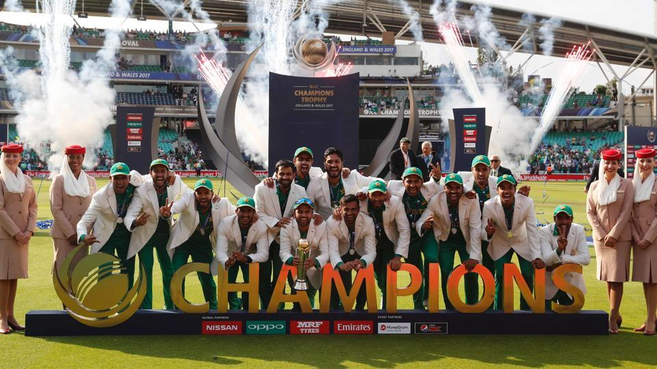 Pakistan players celebrate their win at the presentation after the ICC Champions Trophy final against India at The Oval in London on Sunday.