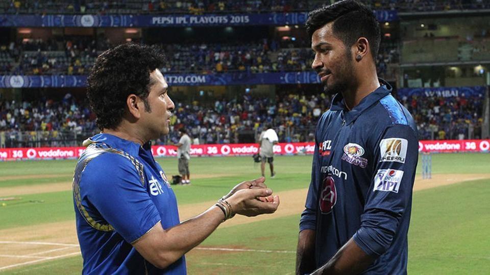 Sachin Tendulkar and Hardik Pandya in conversation after Mumbai Indians' Indian Premier League (IPL) encounter.