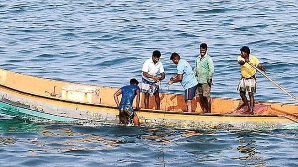 Four fishermen from Pudukottai district and 17 fishermen from Karaikal region in Puducherry were arrested by Sri Lankan navy for allegedly fishing near Neduntheevu .