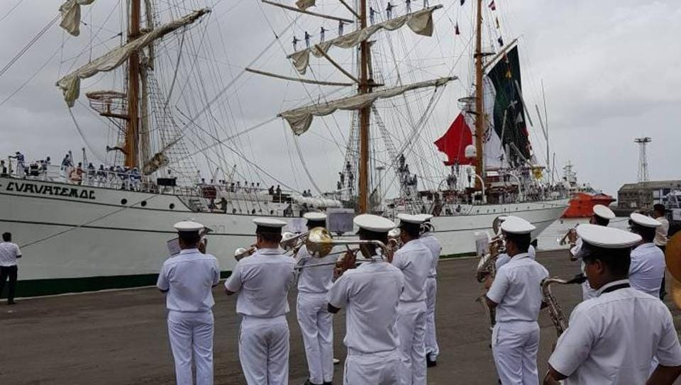The Indian Navy band welcomes the ship.