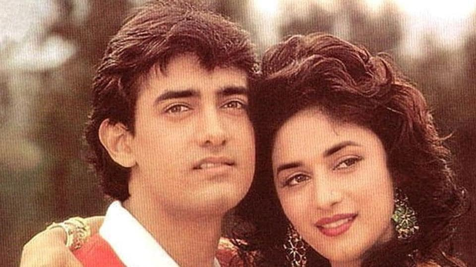Actors Madhuri Dixit and Aamir Khan in a still from Dil.