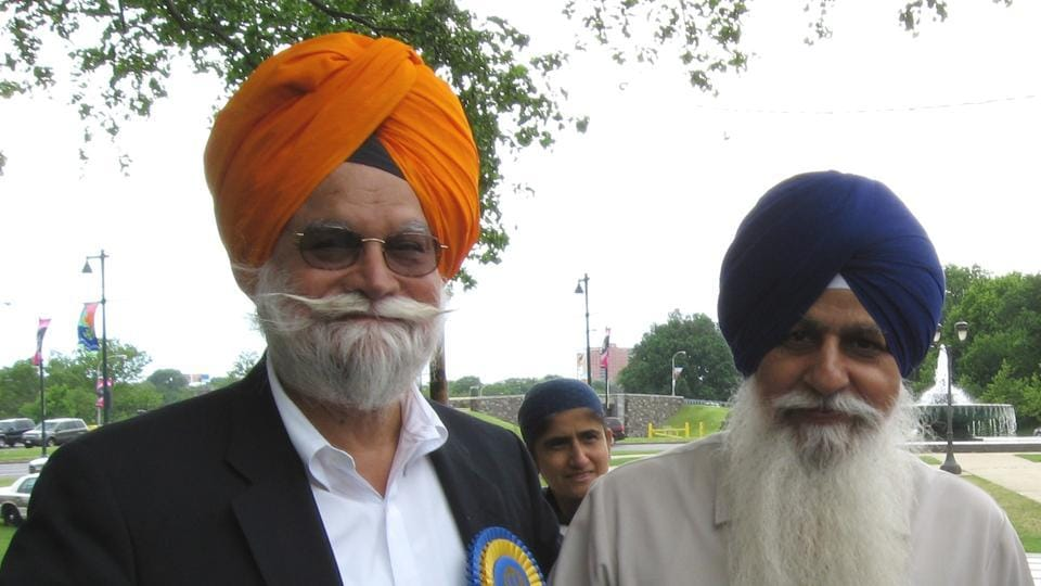 (left) Gurmit Singh Aulakh with Dal Khalsa former president H S Dhami in Washington.
