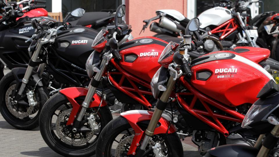 Ducati motorbikes are pictured in front of a shop in Berlin.