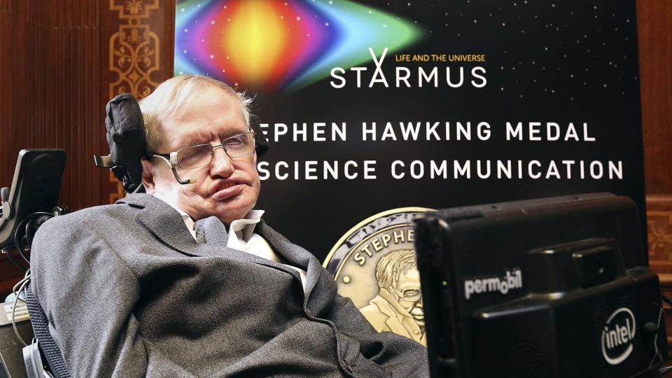 Britain's Professor Stephen Hawking attends a press conference previewing the Starmus science and arts festival taking place in Norway in June, at The Royal Society in London, Friday May 19, 2017.