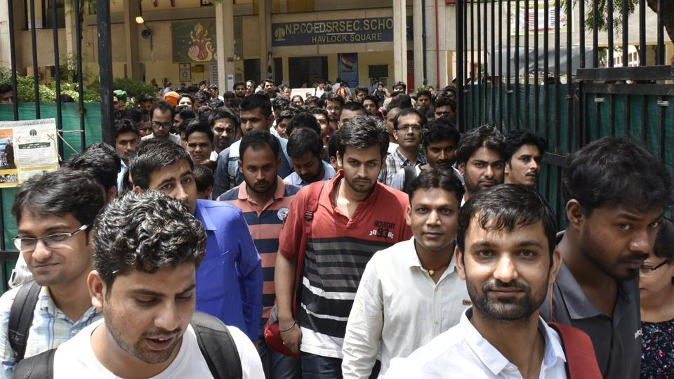 Candidates coming out after attending the Union Public Service Commission Civil Services preliminary exam 2017 at Havlock Square near Gole Dak khana in New Delhi on June 18, 2017.