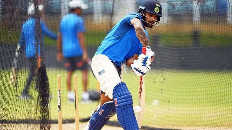 India's Shikhar Dhawan plays a shot. (AFP/Getty Images)
