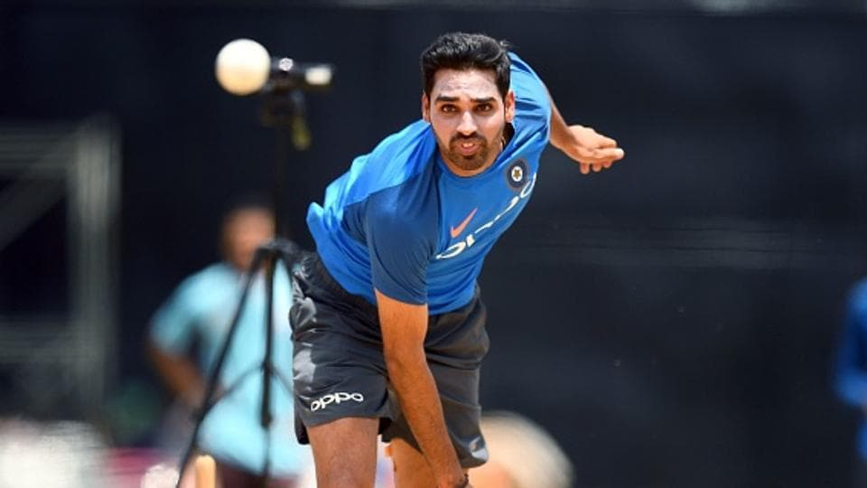 India's Bhuvneshwar Kumar delivers a ball during a practice session. (AFP/Getty Images)
