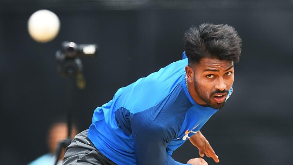 India's Hardik Pandya delivers a ball during a practice session at the Queen's Park Oval in Port of Spain, Trinidad. (AFP/Getty Images)
