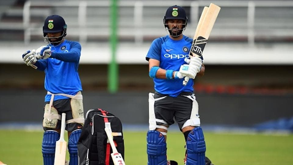 India's captain Virat Kohli (L) and Yuvraj Singh prepare to bat during a practice session. (AFP/Getty Images)