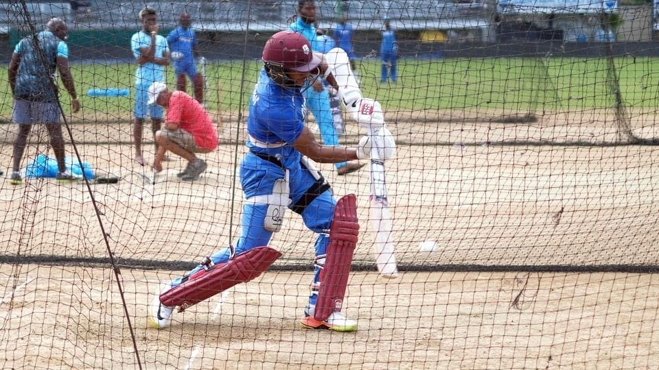 West Indies' Shai Hope plays a shot during a practice session at the Queen's Park Oval in Port of Spain. (AFP)