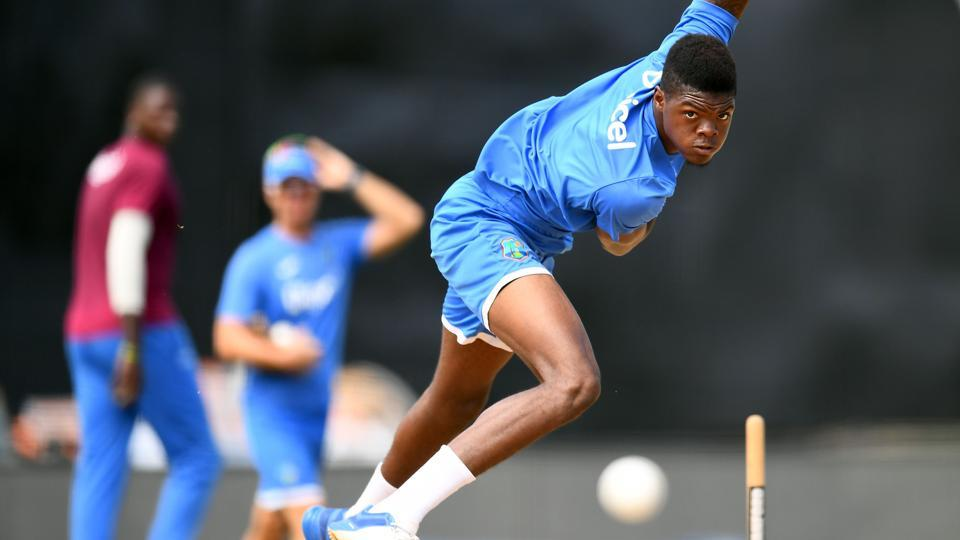 West Indies' Alzarri Joseph delivers a ball during the practice session. (AFP)