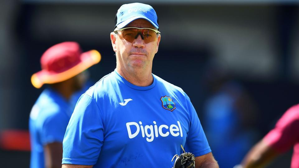 West Indies' cricket team coach Stuart Law watches his players during a practice session. (AFP)