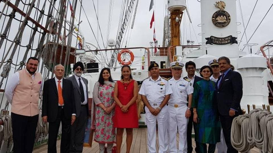 The Mexican Ambassador to India, Melba Pría, (in red) and guests on board the Cuauhtemoc. The ship  has already covered Panama, the United States, Spain, Italy, Greece and Egypt. (HT PHOTO)