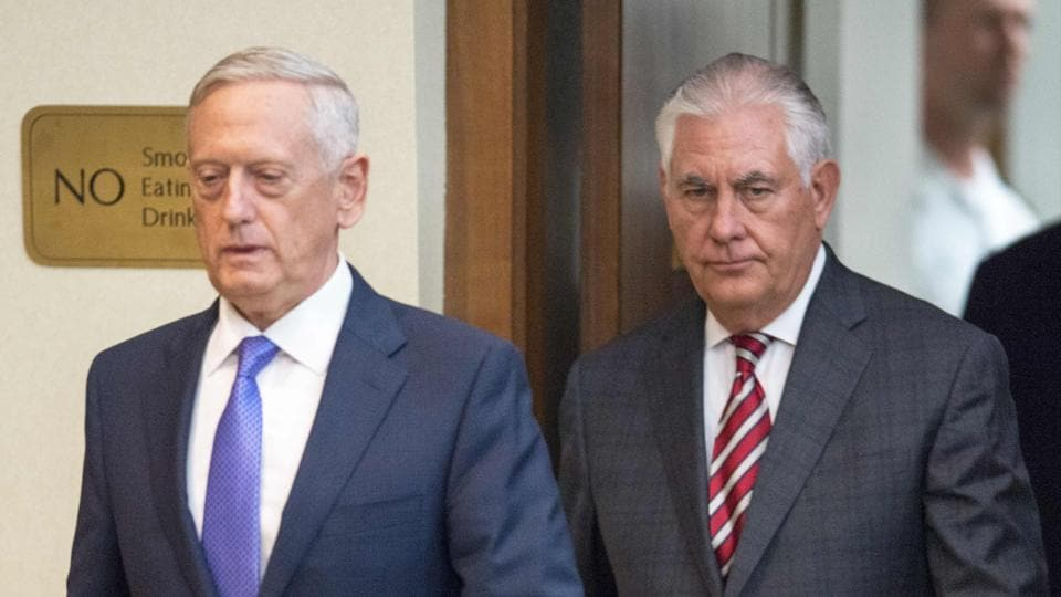 US Secretary of Defense Jim Mattis is followed by US Secretary of State Rex Tillerson to conduct a two question press conference at the US Department of State in Washington, DC.