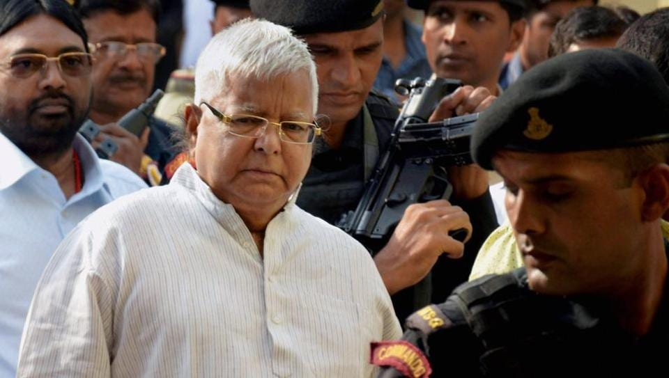RJD leader and former Bihar chief minister Lalu Prasad arrives at a special CBI court in Ranchi on Thursday connection with the multi-crore fodder scam case.