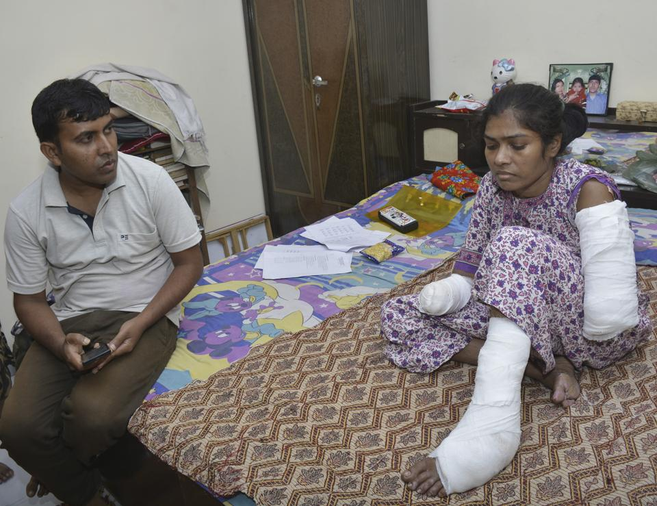 Neelam who survived the shock from a 11KV electricity line hanging near the balcony of her house on April 27.