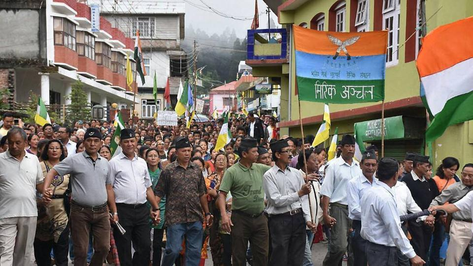 A GJM  rally to demand for separate state 'Gorkhaland' during a protest in Darjeeling.