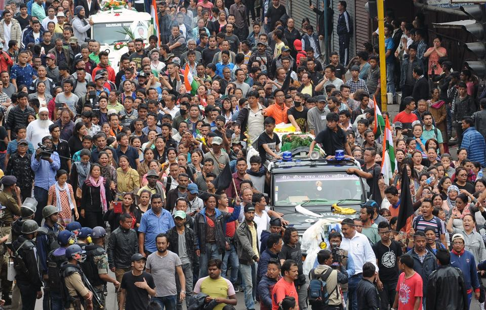 Supporters of Gorkha Janmukti Morcha (GJM) group take part in a rally with the bodies of protesters that GJM leaders say had been killed during clashes with security forces on June 17, 2017. The upswing in violence began when police raided the homes and offices of members of GJM, a separatist movement calling for a new state of 'Gorkhaland' to be carved out of West Bengal. (Dipendu Dutta/AFP)