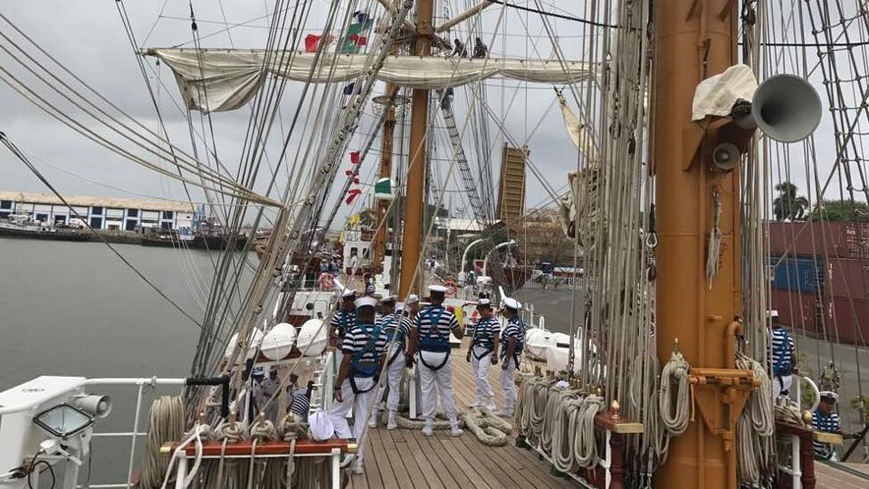 Mexican navy cadets on board the Cuauhtémoc. After India, the ship will set sail to Singapore, the Philippines, China, South Korea, Japan and the United States, before ending its journey at the Mexican port of Acapulco. (HT PHOTO)