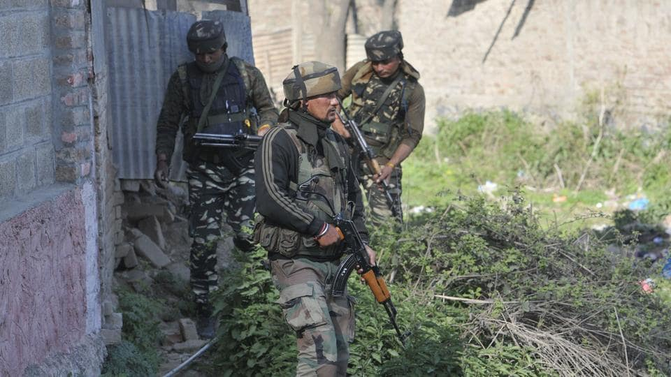 Indian Army personnel during an operation on the outskirts of south Kashmir's Pulwama district.